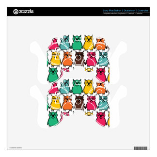 Animals Wild  Owl Birds  Happy & Colorful Nature PS3 Controller Decal
