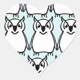 Animals Wild  Owl Birds  Happy & Colorful Nature Heart Sticker