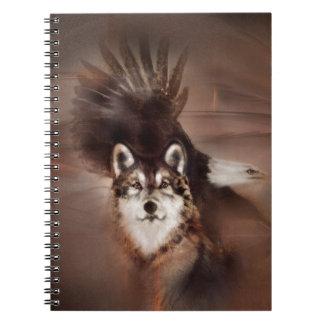 animals,wildlife nature, gifts,wolf eagle spiral notebook