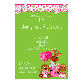 Animals With Hot Pink and Lime Green Invitations