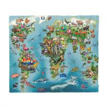 Animals World Map Fleece Blanket