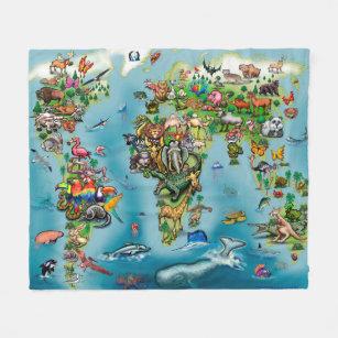World map fleece blankets zazzle animals world map fleece blanket gumiabroncs Images