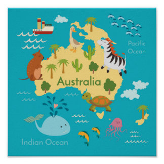 Kids World Map Posters Zazzle - Map of australia for kids