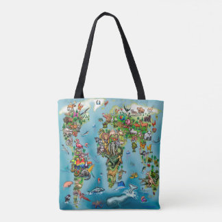 Animals World Map Tote Bag