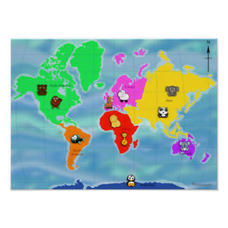Animatastic World Map - Cute Cartoon Animals Poster