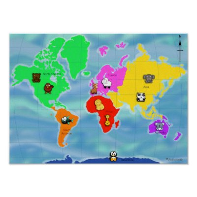 Political World Map Giant Poster Print, 55x39 Giant Poster Print, .