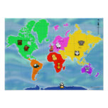 Animatastic World Map Poster (from $11/GBP9.45)