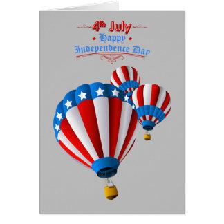 Animated American Flag July 4th Hot Air balloon Card