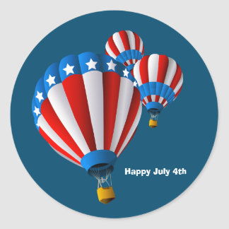 Animated American Flag July 4th Hot Air balloon Classic Round Sticker