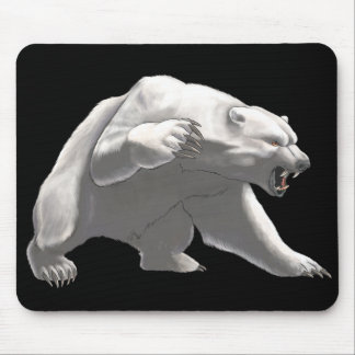 Animated angry white bear mouse pad