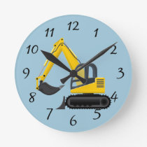 Animated Backhoe Round Clock