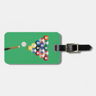 Animated billiards cue ball and stick luggage tag