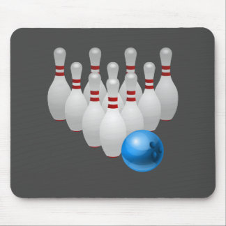 Animated bowling ball and pins mouse pad