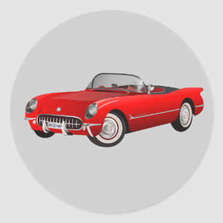 Animated bright red sports car classic round sticker