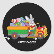 Animated Bunny With Truck full of colored eggs Classic Round Sticker