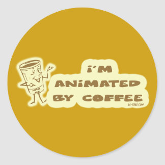 ANIMATED BY COFFEE CLASSIC ROUND STICKER