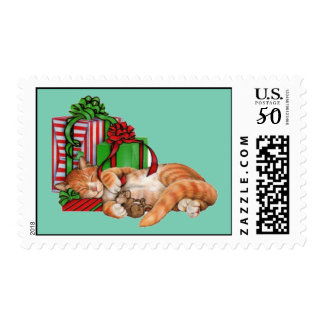 Animated cat and mouse sleeping postage