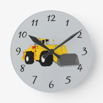 Animated construction equipment round clock