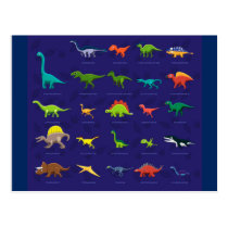 Animated Dinosaurs with names underneath Postcard