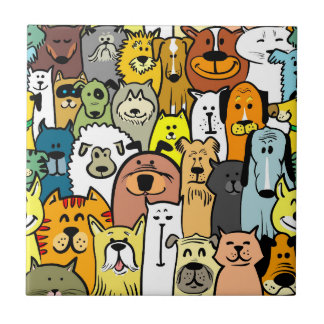 Animated Dogs and Cats illustrations Ceramic Tile