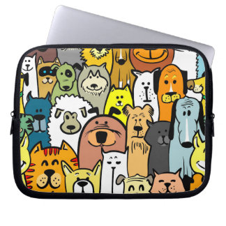 Animated Dogs and Cats illustrations Computer Sleeve
