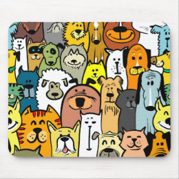Animated Dogs and Cats illustrations Mouse Pad