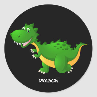 Animated Dragon Classic Round Sticker