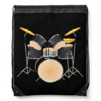Animated drum set drawstring bag