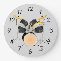 Animated drum set large clock
