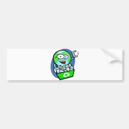 Animated earth recycling bumper stickers