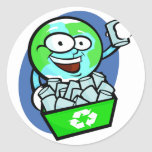 Animated earth recycling classic round sticker
