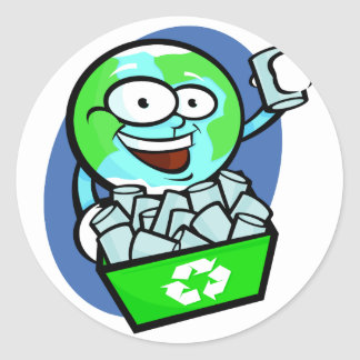 Animated earth recycling round stickers