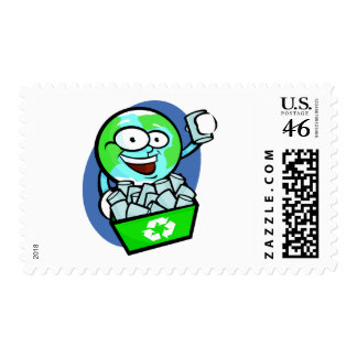 Animated earth recycling stamp