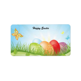 Animated Easter Eggs with butterflies label