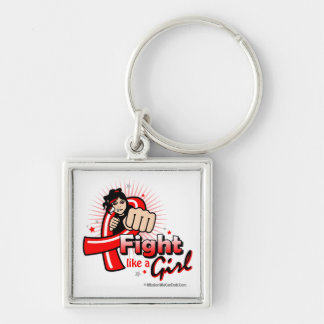 Animated Fight Like A Girl AIDS Key Chain