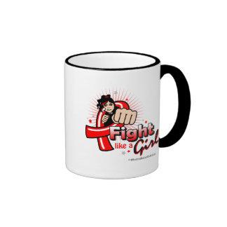 Animated Fight Like A Girl AIDS Ringer Coffee Mug