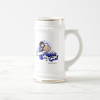 Animated Fight Like A Girl - ALS Disease 18 Oz Beer Stein