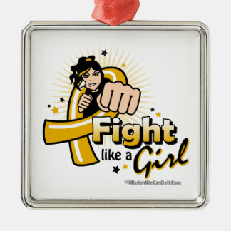 Animated Fight Like A Girl Appendix Cancer Square Metal Christmas Ornament