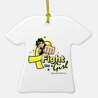 Animated Fight Like A Girl Bladder Cancer Christmas Ornaments