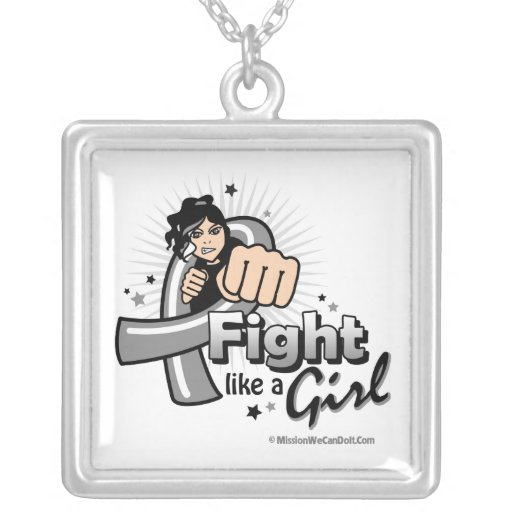 Animated Fight Like A Girl Brain Cancer Square Pendant Necklace