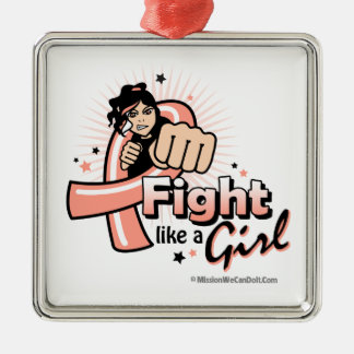 Animated Fight Like A Girl Endometrial Cancer Christmas Tree Ornaments