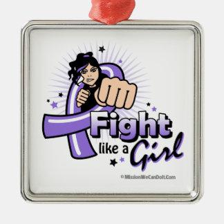 Animated Fight Like A Girl Hodgkin's Lymphoma Ornament