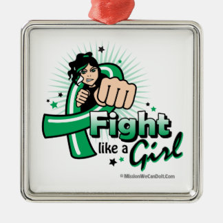 Animated Fight Like A Girl Liver Cancer Christmas Tree Ornament