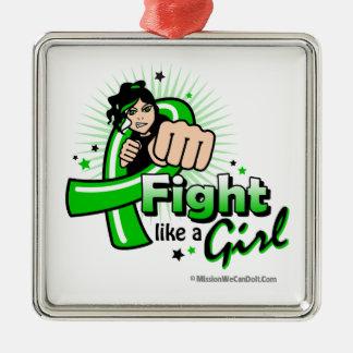 Animated Fight Like A Girl Mental Health Awareness Christmas Tree Ornaments