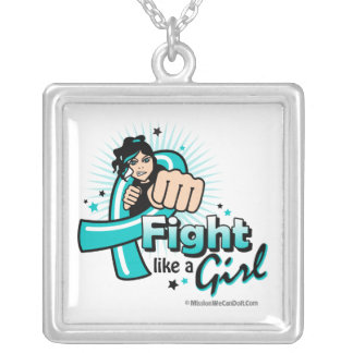 Animated Fight Like A Girl Ovarian Cancer Square Pendant Necklace