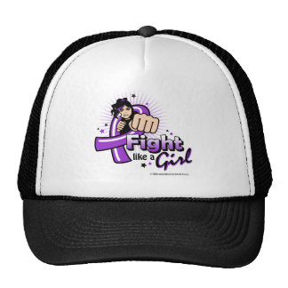 Animated Fight Like A Girl Pancreatic Cancer Mesh Hats