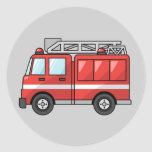 Animated Fire Truck Classic Round Sticker