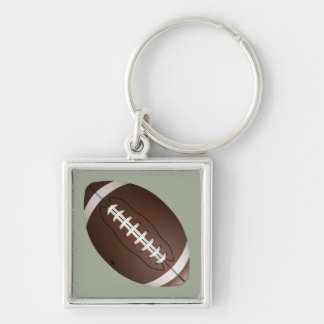 Animated Football Silver-Colored Square Keychain