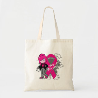 Animated Girl Breast Cancer Sucks Tote Bags