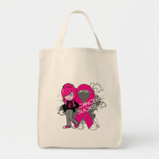 Animated Girl Breast Cancer Sucks Canvas Bags